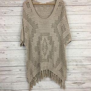 Maurices fringe tunic poncho sweater crochet knit